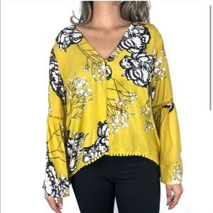 Jaase | Yellow Bell Sleeve Top Floral Print Blouse